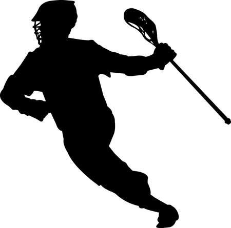 Lacrosse - Men 2 isolated vector silhouette Illusztráció