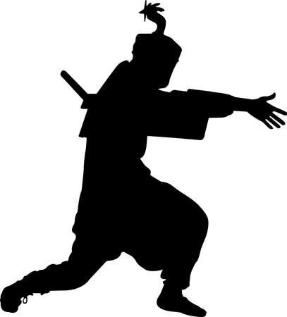 Ninjitsu 3 isolated vector silhouette