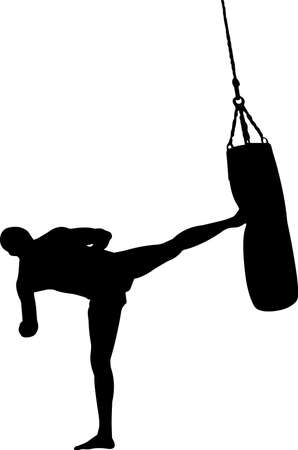 Kickboxing 8 isolated vector silhouette 矢量图像