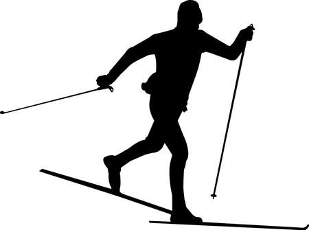 Skiing 3 isolated vector silhouette