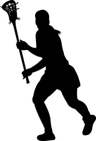 Lacrosse - Women 3 isolated vector silhouette Illusztráció