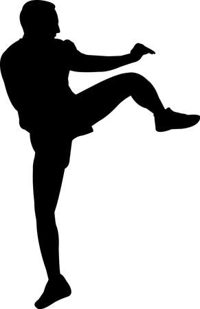 Kickboxing 9 isolated vector silhouette