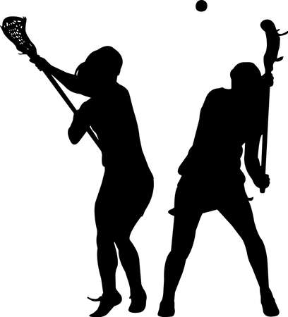 Lacrosse - Women 6 isolated vector silhouette