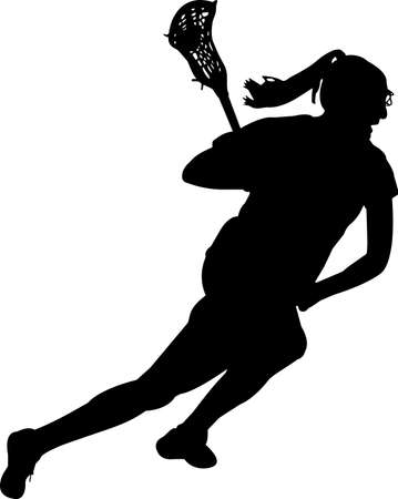 Lacrosse - Women 8 isolated vector silhouette