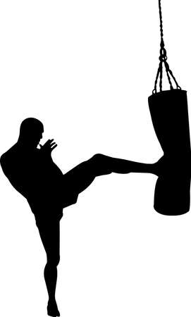 Kickboxing 1 isolated vector silhouette