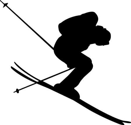 Skiing 5 isolated vector silhouette Vector Illustratie