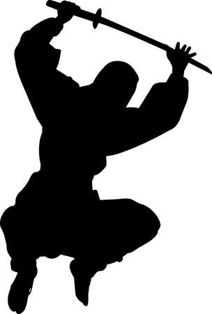 Ninjitsu 5 isolated vector silhouette