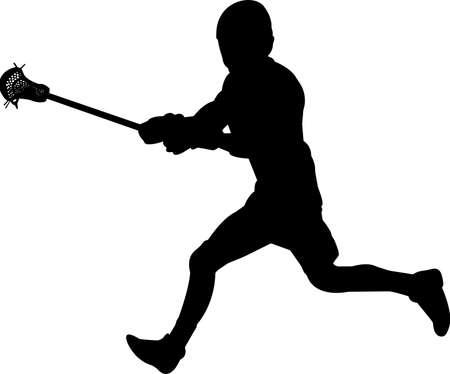 Lacrosse - Men 10 isolated vector silhouette Illusztráció