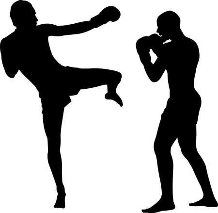 Muay Thai 6 isolated vector silhouette