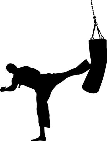 Kickboxing 3 isolated vector silhouette
