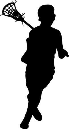 Lacrosse - Women 2 isolated vector silhouette Illusztráció