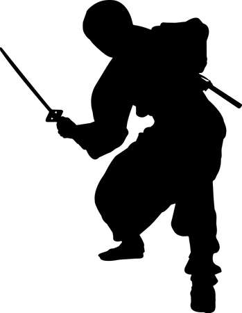 Ninjitsu 9 isolated vector silhouette
