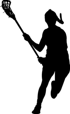Lacrosse - Women 1 isolated vector silhouette