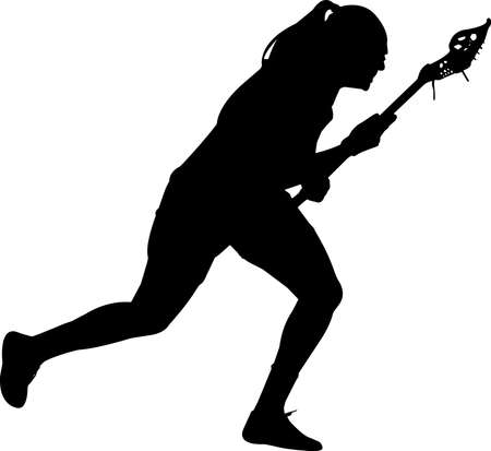 Lacrosse - Women 5 isolated vector silhouette