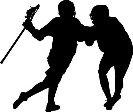 Lacrosse - Men 7 isolated vector silhouette Illusztráció