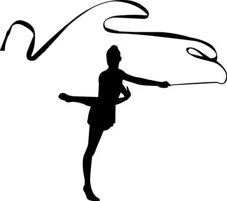 Rythmic Gymnastic 8 isolated vector silhouette
