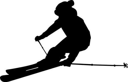 Skiing 7 isolated vector silhouette