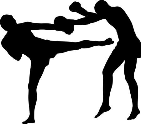 Muay Thai 5 isolated vector silhouette 矢量图像