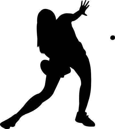 Table tennis - Women 1 isolated vector silhouette