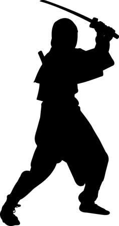 Ninjitsu 1 isolated vector silhouette Ilustracja