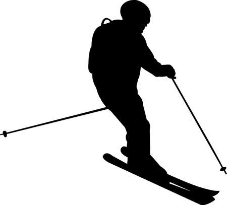 Skiing 8 isolated vector silhouette