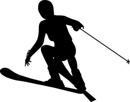 Skiing 1 isolated vector silhouette