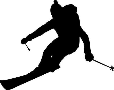 Skiing 6 isolated vector silhouette Vector Illustratie