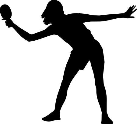 Table tennis - Women 2 isolated vector silhouette Vetores