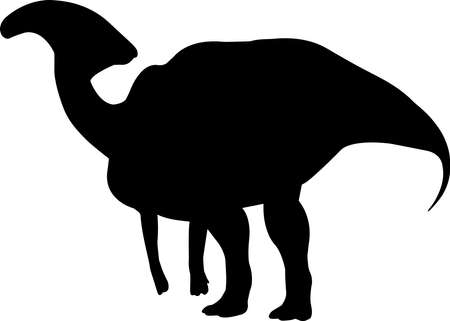Parasaurolophus 8 isolated vector silhouette