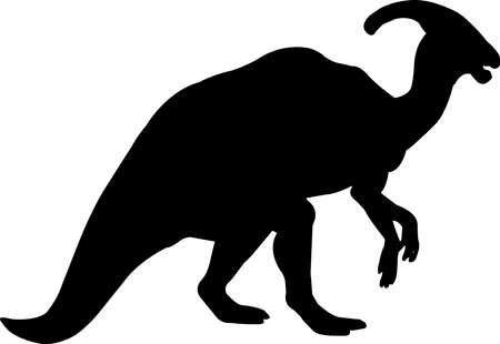 Parasaurolophus 2 isolated vector silhouette