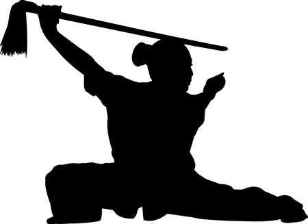 Wushu 1 isolated vector silhouette Vettoriali