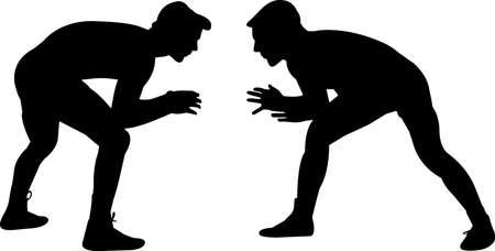 Wrestling Men 10 isolated vector silhouette