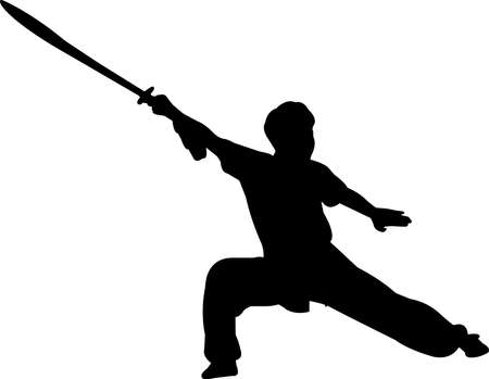 Wushu 10 isolated vector silhouette