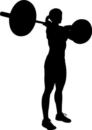 Weightlifting Women 8 isolated vector silhouette Ilustrace