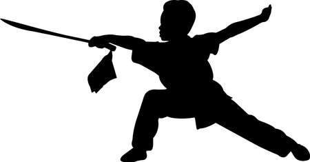 Wushu 5 isolated vector silhouette