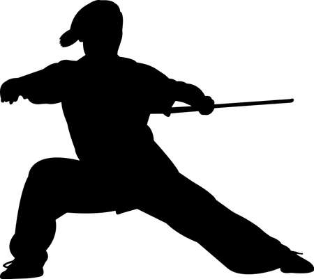 Wushu 6 isolated vector silhouette