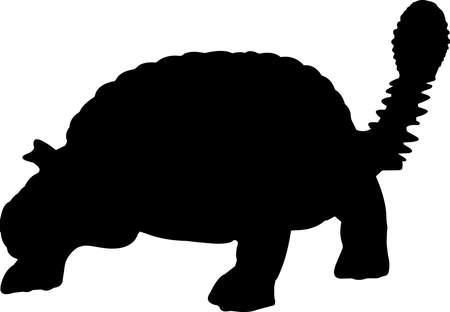 Ankylosaurus 3 isolated vector silhouette Ilustracja
