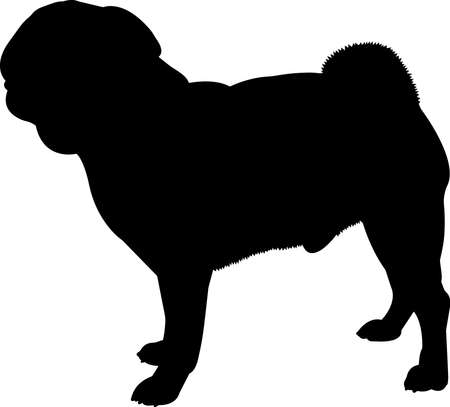 Pug 1 isolated vector silhouette Vetores