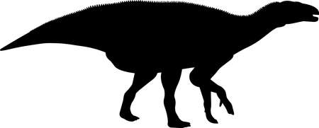 Iguanodon 5 isolated vector silhouette Иллюстрация