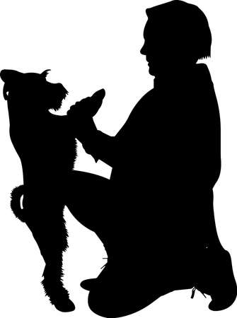 Training a Dog 8 isolated vector silhouette