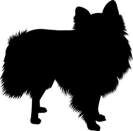 Pomeranian 1 isolated vector silhouette Ilustración de vector