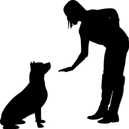 Training a Dog 4 isolated vector silhouette