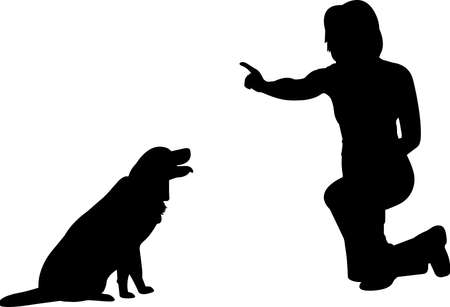 Training a Dog 5 isolated vector silhouette Ilustracja