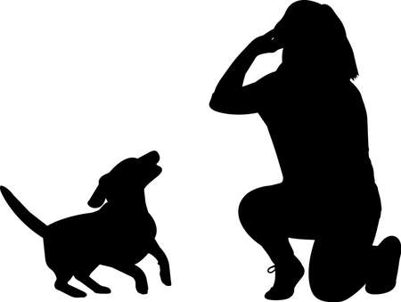 Training a Dog 6 isolated vector silhouette
