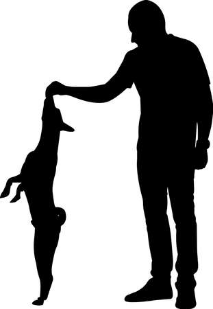 Training a Dog 2 isolated vector silhouette