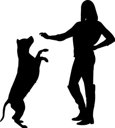 Training a Dog 3 isolated vector silhouette
