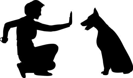 Training a Dog 1 isolated vector silhouette