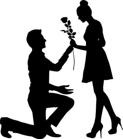 Couple Engaged Silhouette Vector Ilustración de vector