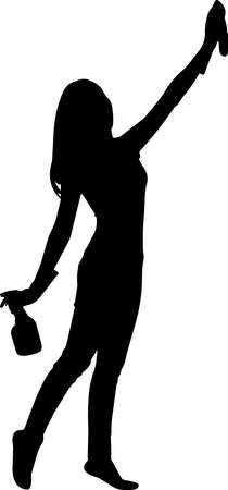 Cleaning Lady Silhouette Vector
