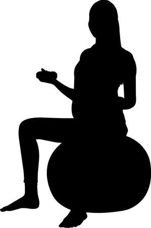 Pregnant Woman Exercising Silhouette Vector 矢量图像